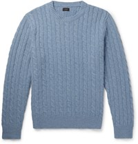 J.Crew Cable Knit Wool Sweater Light Blue