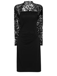 Hotsquash Lace Sleeved Dress In Clever Fabric Black