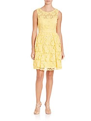 Sue Wong Lace Fit And Flare Dress Yellow