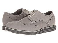 Cole Haan Original Grand Wing Oxford Ironstone Nubuck Ivory Magnet Men's Lace Up Casual Shoes Beige