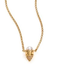 Eddie Borgo 4Mm White Mabe Pearl And Pave Crystal Cone Pendant Necklace Gold