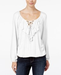 American Rag Ruffled Lace Up Peasant Blouse Only At Macy's Off White