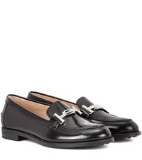 Tod's Double T Leather Loafers Black