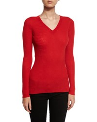 Grey By Jason Wu Ribbed Wool V Neck Sweater Red