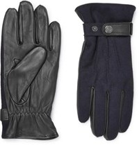 Dents Flannel And Leather Gloves Navy