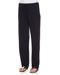 The Row Drawstring Waist Cashmere Silk Sweatpants Navy
