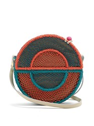 Sophie Anderson Nilsa Circle Toquilla Straw Cross Body Bag Blue Multi