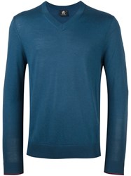 Paul Smith Ps By V Neck Fine Knit Jumper Blue