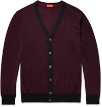 Isaia Wool Silk And Cashmere Blend Cardigan Burgundy
