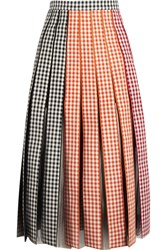 Christopher Kane Pleated Gingham Cotton Twill And Tulle Midi Skirt Black