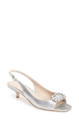 Pelle Moda 'Fresh' Jeweled Metallic Leather Slingback Sandal Women Silver