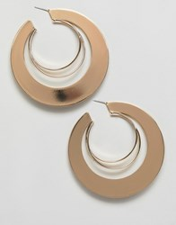 Missguided Triple Layer Hoop Earring In Gold