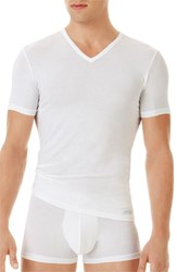 Men's Calvin Klein 'U5563' V Neck Micromodal T Shirt White