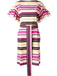 Salvatore Ferragamo Striped Dress Yellow And Orange