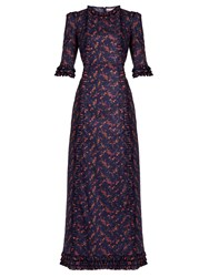 The Vampire's Wife Cate Floral Print Cotton Dress Navy Print