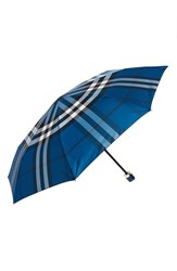 Burberry 'Trafalgar' Check Folding Umbrella Blue Marine Blue