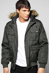 Boohoo Parka With Fur Lined Hood Olive