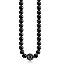 Thomas Sabo Men's Necklaces Power Blackened Sterling Silver Men's Necklace W Obsidian Matt And Polished Beads