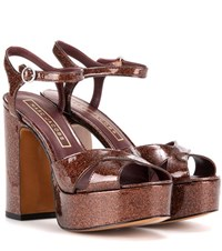 Marc Jacobs Glitter Patent Leather Platform Sandals Brown