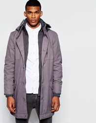 River Island Long Parka Jacket Charcoal