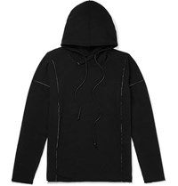 Isabel Benenato Embroidered Loopback Jersey Hoodie Black