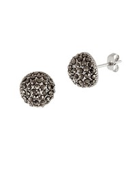 Lord And Taylor Sterling Silver Convex Circle Dome Earrings