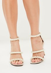 Missguided Nude Pearl Embellished 3 Strap Barely There Heels