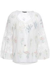 Love Sam Woman Daisy Lace Trimmed Embroidered Cotton And Silk Blend Blouse Ivory