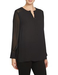 1.State Long Sleeve Split Neck Tunic Rich Black