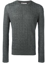 Brunello Cucinelli Ribbed Trim Jumper Grey
