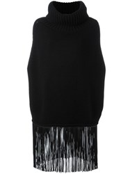 Agnona Fringed Cape Jumper Black