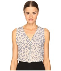 The Kooples Sport Silk Leopard Casual Print Tank Top Blue 2
