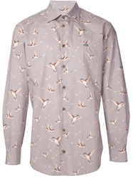 Vivienne Westwood Humming Bird Print Shirt Pink And Purple