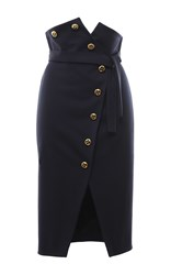 Francesco Scognamiglio Stretch Wool Button Front Pencil Skirt Black