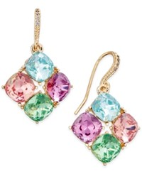 Charter Club Gold Tone Multi Crystal Diamond Shape Drop Earrings Only At Macy's
