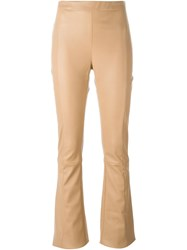 Drome Flared Leather Trousers Nude And Neutrals