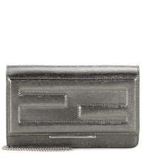 Fendi Wallet On Chain Metallic Leather Clutch Silver