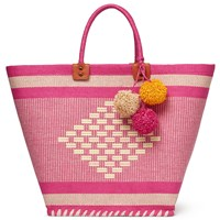 John Lewis Aztec Straw Pom Shopper Bag Pink