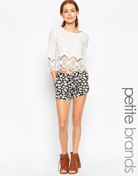 New Look Petite Floral Lace Up Runner Shorts Print