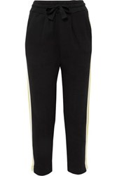 Chinti And Parker Dreamer Striped Cotton Jersey Grosgrain Track Pants Black