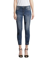 Miss Me Star Embroidered Cropped Skinny Jeans Medium Blue