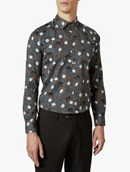 Ted Baker Yeux Flower Print Shirt Mid Brown