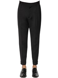 Dsquared 16.5Cm Pleated Wool Pants Black