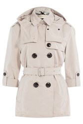 Burberry Brit Knightsdale Short Hooded Trench Coat Beige