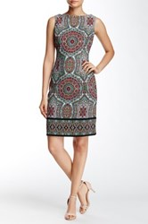 London Times Twill Paisley Boatneck Dress Petite Green