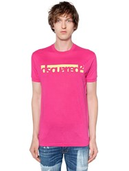 Dsquared Logo Printed Cotton Jersey T Shirt Fuchsia