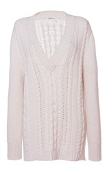 Agnona Cable Knit V Neck Sweater Ivory