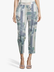 Betty And Co. Leaf Print Trousers White Emerald