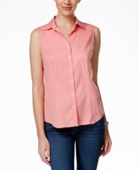 Charter Club Sleeveless Button Down Shirt Only At Macy's Strawberry Pink