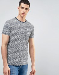 Solid T Shirt In Stripe Texture With Pocket White